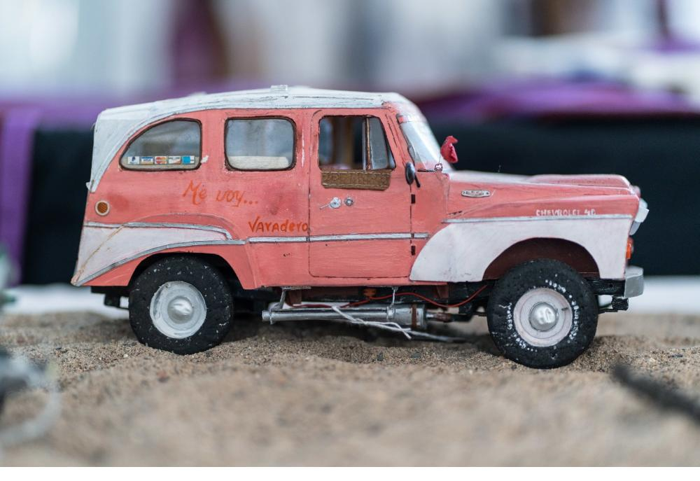 A model car painted and detailed by artist Leandro Gómez Quintero.  Credit:  Ramsay de Give for The New York Times