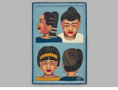 Braided styles hairdressing sign  1994 signed Lébéné Togo oil and/or acrylic paint, wood panel Courtesy of Ernie Wolfe Gallery
