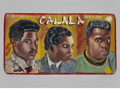 """CALALA"" barbershop sign  c. 1980 Kumasi, Ghana oil and/or acrylic paint, wood panel Courtesy of Anthony Fisher – Indigo Arts Gallery"
