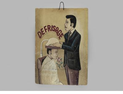 """Defrisage"" hairdressing sign  c. late 1970s–early '80s BP Konan Côte d'Ivoire oil and/or acrylic paint, wood panel Courtesy of Ernie Wolfe Gallery"