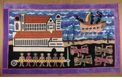 "William Adjété Wilson's quilt, ""The Black Ocean,"""