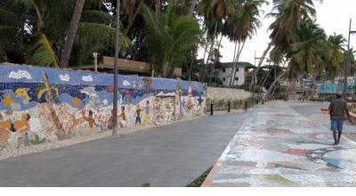 Mosaic murals and esplanade - Jacmel, Haiti. (Photograph © Anthony Hart Fisher, 2014)