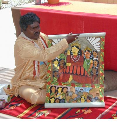 Gurupada Chitrakar sings a story scroll - Santa Fe, 2006