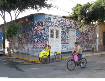 Political Consciousness of an earlier era is fading but still readable on this building in Barranco.