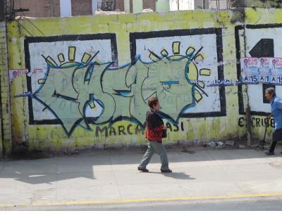 A kind of grafitti pretty familiar in US cities, in Lima Centro.
