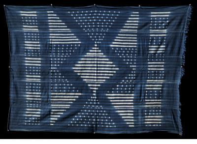 Indigo stitch-resist-dyed strip-weave cotton cloth (IND-157)