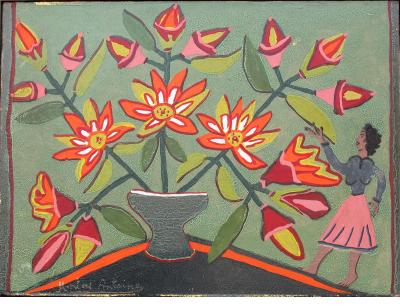 """""""Still Life with Red Flowers and Woman in Pink Skirt"""" by Montas Antoine, c.1950s."""