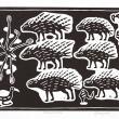 Porcupines - Linocut print