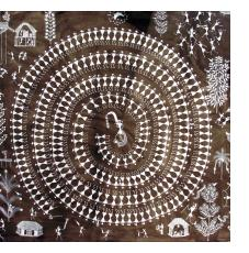A Warli painting by Jivya Soma Mashe, Thane District, Maharashtra, India.