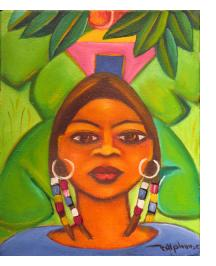 Woman with Earrings and Braids