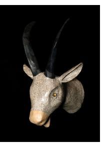 Newsprint Papier Maché Goat Trophy Head