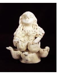 Vintage Figure of Woman with Bird Pots