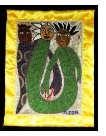 """Trois Esprits"" Beaded Vodou Flag"