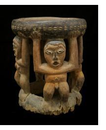 """""""Caryatid"""" - Bamum figurative wood stool."""