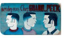 """Rendezvous Chez GRAND PECK"" barber sign"