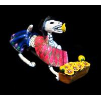 Calavera Flower-seller Dog - Retablo Figure