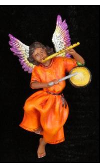 Retablo Angel Musician Ornament (flute and drum)