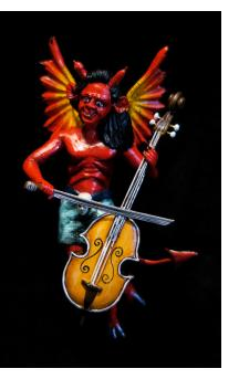 Devil with a Cello - retablo sculpture