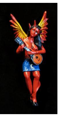 Diabla with mandolin - retablo sculpture