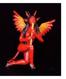 Diabla with Recorder - Retablo Sculpture