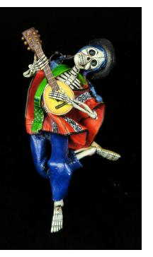 Calavera Musician of the Sierra - retablo sculpture