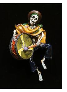 Calavera with a Big Drum - retablo sculpture