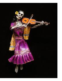 Calavera Violinist - retablo sculpture