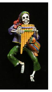 Calavera with Panpipes -Retablo ornament