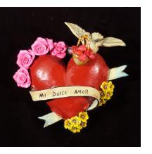 """""""Mi Dulce Amor"""" (My Sweet Love) Retablo Heart Ornament"""