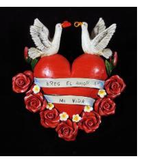 """""""Eres El Amor de Mi Vida"""" (you are the love of my life) Retablo heart ornament"""