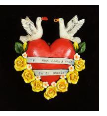"""""""Te Amo Como a Nadie en el Mundo"""" (I love you like nothing in the world) - Retablo Heart Ornament"""
