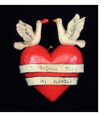 """Te Regalo Todo Mi Corazon""  - Retablo Heart Ornament"