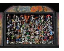 Danza Tijeres de Esqueletos (Dance of the Scissors) - Retablo