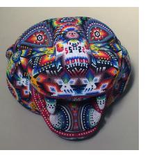 Large Jaguar Head/Mask - Huichol Beaded Sculpture