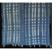 Indigo resist-dyed strip-weave cotton cloth with Lurex threads