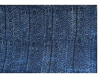 Indigo resist-dyed strip-weave cotton cloth