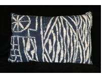 "Vintage Indigo Resist-dye ""Ndop"" Cloth Pillow from Cameroon"