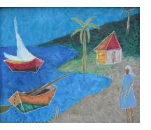 Woman in a blue dress and two boats at the shore