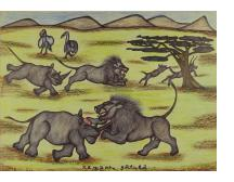 Lions and Rhinos at Battle