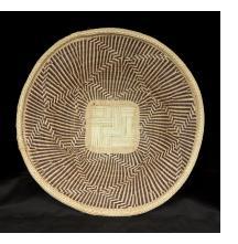 "Nambya BasketNambya People, Zimbabwe. Illala palm, grasses and split bamboo with natural plant dyes. (14""diam. x 3 1/2"" h.)"