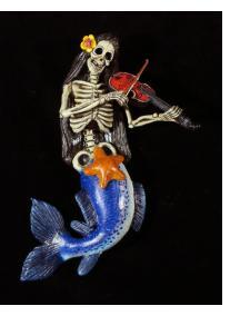 La Sirena Calavera Violinist - retablo figure