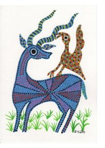 Blue Deer and Yellow Bird