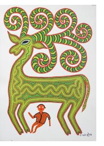 Green Deer with Small Man