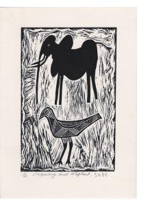 Lapwing and Elephant - Linocut print
