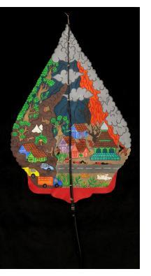 """Mt. Merapi Volcano """"Kayon"""" """"Wayang Kulit"""" Javanese Shadow Puppet by Tri Suwarno"""