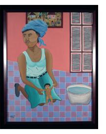 Woman Bathing a Child