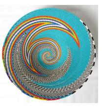 Imbenge Telephone Wire Basket - Large shallow flared shape - Turquoise Multicolor