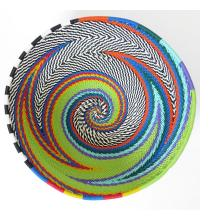 Imbenge Zulu Telephone Wire Basket (bowl shape)  - Green Multicolor