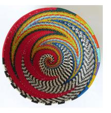 African Zulu woven telephone wire bowl Turquoise and multicolour Gift from Africa Medium shallow bowl