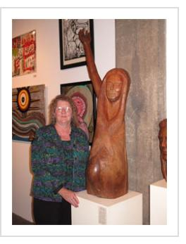 "Vickie Carter Fleming with ""Behold my Miracle"" at Appalachian Visionaries opening. Oct. 13, 2011"